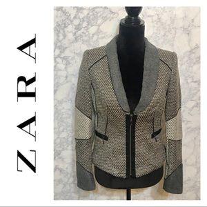 Zara Basic • Tweed Cropped Blazer Sz M